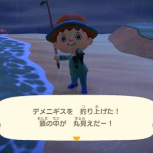 あつまれどうぶつの森 デメニギス(深海魚)を夜釣りでゲット! 生息時期、場所、釣れる時間帯はこちら、時間に注意です【レア魚画像・いきもの図鑑アプリ】