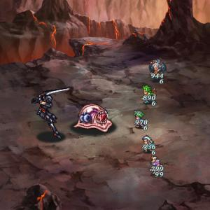 武器聖石の洞窟15層を3ターンオート周回中(育成2枠) 限定打をやるより15層の方が楽ですね【ロマサガRS】