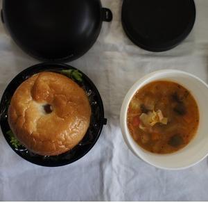 ベーグル+野菜と豆のスープ