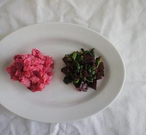 ビーツのポテトサラダ + ビーツと春菊和え物