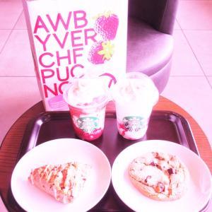 STARBUCKS COFFEE ♡ ストロベリーベリーマッチフラペチーノ レッド ホワイト♡♡