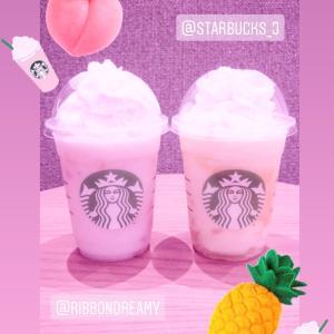 STARBUCKS ♡ GOピーチフラペチーノ ♡ GOパイナップルフラペチーノ♡♡♡