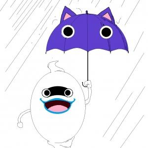 外は土砂降り。