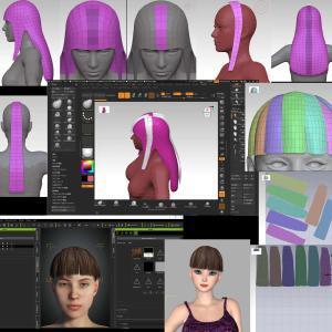 ZBrushでヘアキャップ以外のヘアの作成1