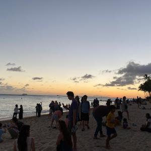 Hawaii  2020 サンセット ワイキキビーチ