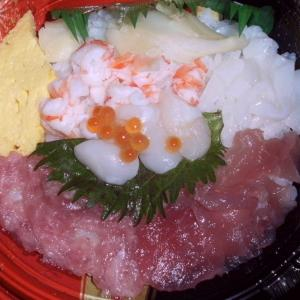 サーモン寿司 & 海鮮丼♪(●^o^●)