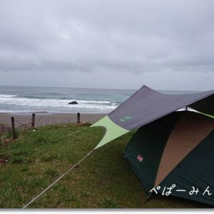 日本海の荒波と 雪予報の完ソロキャンプ