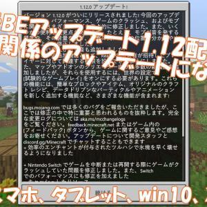 【マイクラBE】アップデート1.12配信!switch・PEなど・・・。アドオン関係のアップデートです!