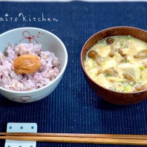 雑穀米で賑やかなお茶碗の中と、ひとりファミレスごっこ^^