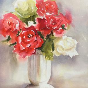 赤いバラ白いバラ