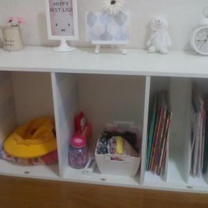 セリアの蓋つきボックスで子供部屋の収納を目隠し