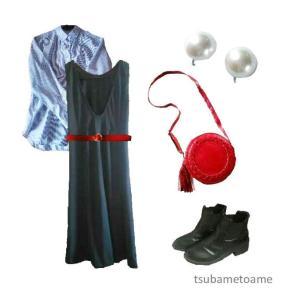 【少ない服で着回す】黒ノースリーブマキシワンピースの秋コーデ《10月中旬》