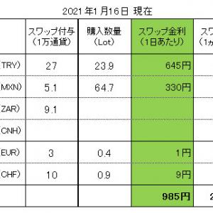 FXスワップ生活 進捗管理(2021.01.16現在)