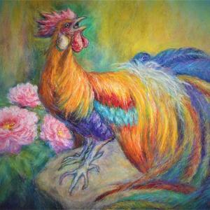 東天紅鶏と牡丹