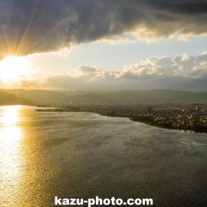 諏訪湖と夕日をドローンで空撮!@長野の絶景スポット