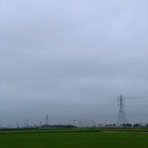 曇天の朝の鉄塔群・7月31日金曜日
