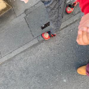 近くの小学校に息子と2人で散歩