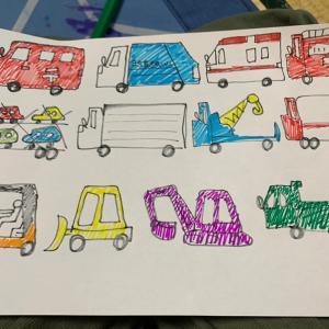 悲報 やっちん、息子に働く車を描かされる。
