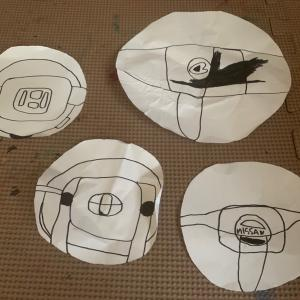 息子が描いたハンドル達。