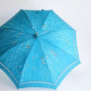 【着物リメイク】空色小紋の着物を日傘へ ビフォアフター