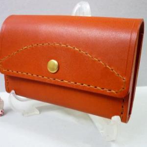 ミニ財布(2段・浅型)・・増補する・・赤茶