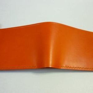 二つ折り財布(コインポケット付)・・・赤茶オイルレザー