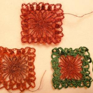 モヘヤのモチーフ編み