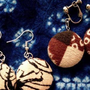 入荷: やさしい布の耳飾り 〜 古布 和柄 エスニック柄