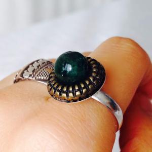 入荷: 秋の果実のような指輪たち 〜 トルマリン レトロボタン 陶器 布花