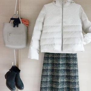 ギャローリアスカートの店頭ディスプレーをちょこっと真似した50代コーデ