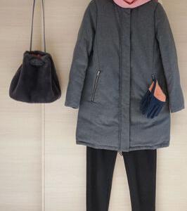 ユニクロボアスウェットパンツと付録のバッグで50代防寒コーデ