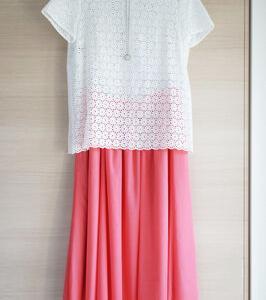 【甘甘コーデ】綺麗色スカートと白トップスのコーデ