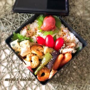 海老と夏野菜のマヨカレー炒めのお弁当