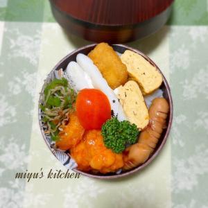 エビチリのお弁当とベーコンポテトパイ