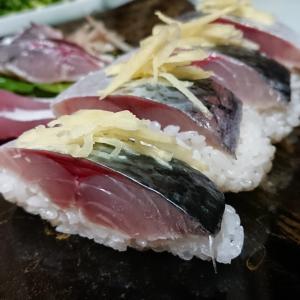 釣った鯖とハマチの調理:鯖寿司、ハマチの刺身
