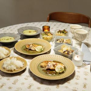 北欧ヴィンテージ食器テーブルコーデの晩御飯♪低温調理メカジキのソテー♪