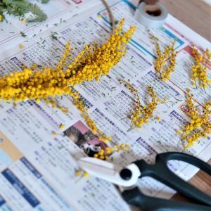 【北欧インテリア】簡単ミモザリース作り♪&春を感じる枝もので模様替え♪