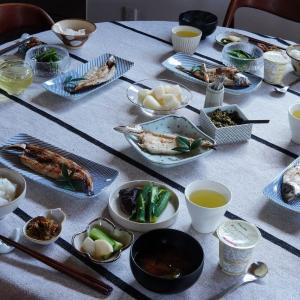 スコープ別注×民藝和食器etc.のテーブルコーデ♪おいしい干物の朝ご飯♪
