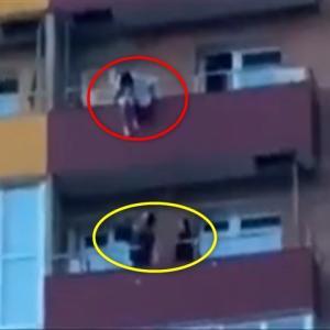マンション15階から飛び降り自殺しようとする女性をナイスキャッチする男性