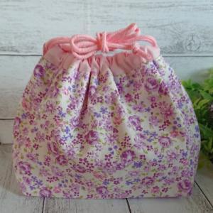 内布付き・切替付き、ピンクと紫でラブリーなお弁当袋の作り方