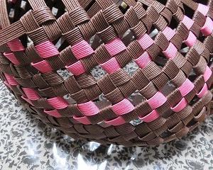 扇形バスケット5、側面の編み上がり