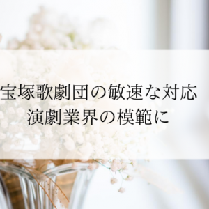 宝塚歌劇団の敏速な対応・演劇業界の模範に