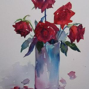 赤い薔薇仕上げ