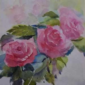 薔薇 楽しんで描く