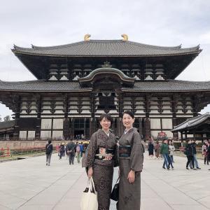 双子コーデで奈良へ小旅行。お題は泥大島と黒の帯、のアラフィフコーデ。