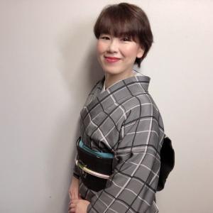 格子柄の着物、私が着るとこうなります。ローケツの唐花模様の帯との着物コーデ