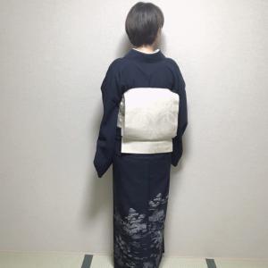 秋の初めの紺色夏紬コーデ。帯2種で比較してみました【着物コーディネート】
