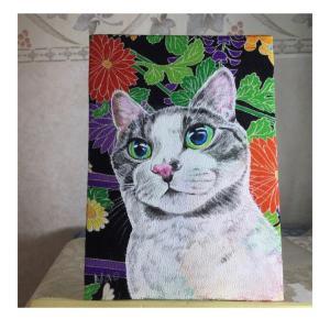 絹に描く猫似顔絵 ロビン