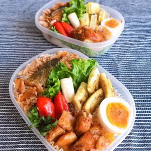 焼き鮭ほぐしご飯と鶏胸肉の照り焼き弁当