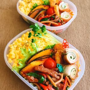 青椒肉絲と炒り卵ご飯のお弁当